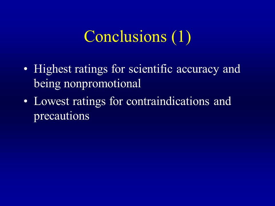 Conclusions (1) Highest ratings for scientific accuracy and being nonpromotional Lowest ratings for contraindications and precautions