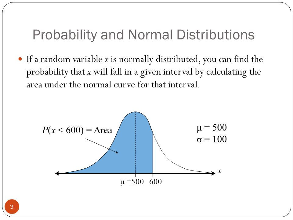 Probability and Normal Distributions 3 If a random variable x is normally distributed, you can find the probability that x will fall in a given interval by calculating the area under the normal curve for that interval.
