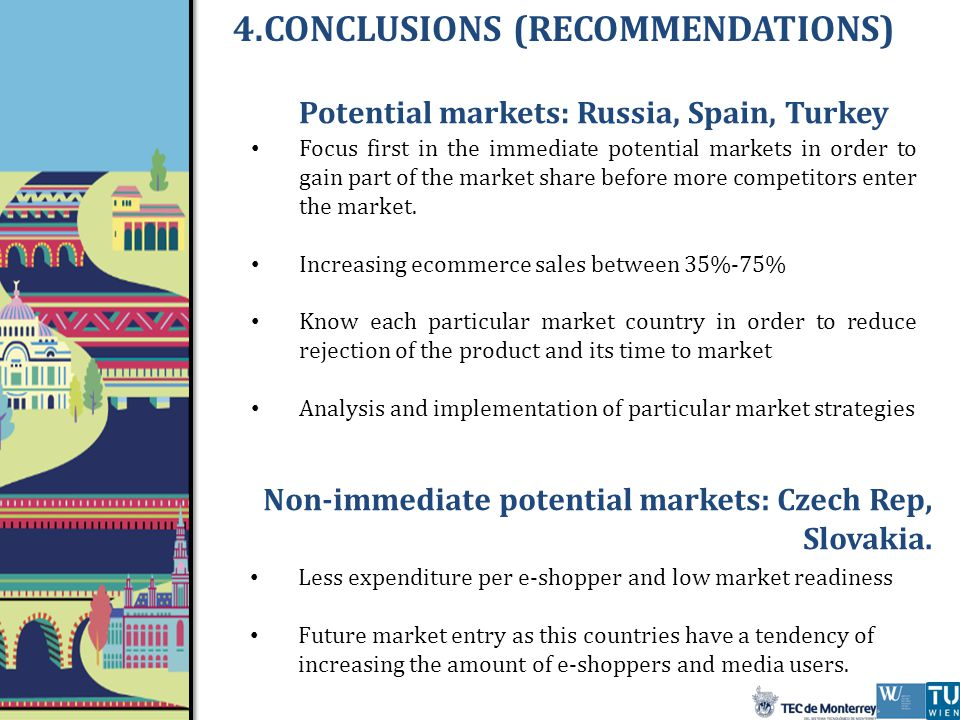 Potential markets: Russia, Spain, Turkey Focus first in the immediate potential markets in order to gain part of the market share before more competitors enter the market.