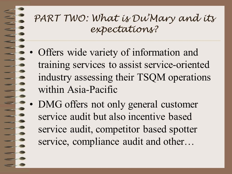 PART TWO: What is Du'Mary and its expectations.