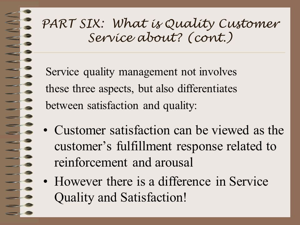 PART SIX: What is Quality Customer Service about.