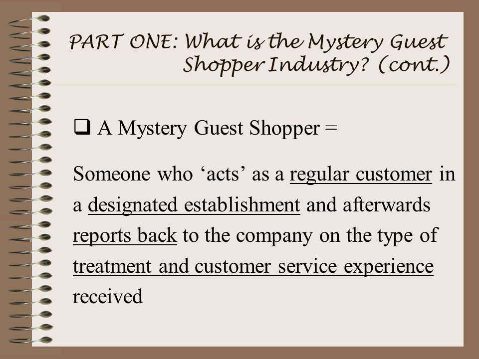 PART ONE: What is the Mystery Guest Shopper Industry.