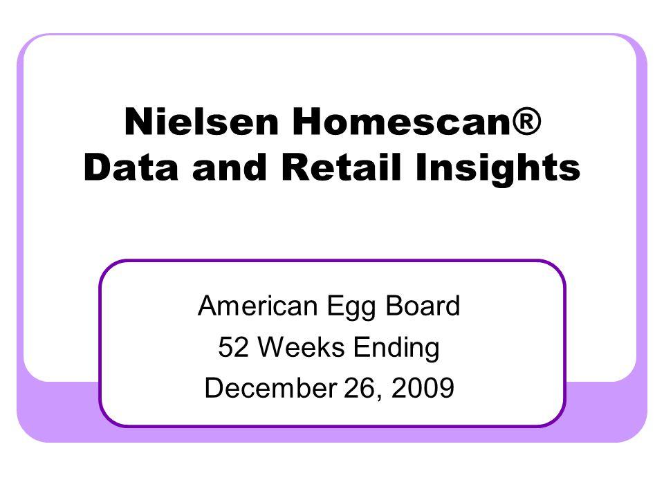 Nielsen Homescan® Data and Retail Insights American Egg Board 52 Weeks Ending December 26, 2009