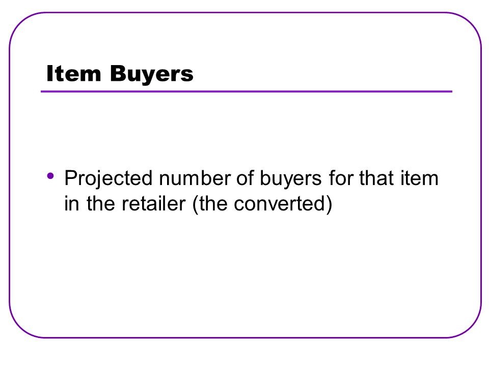 Item Buyers Projected number of buyers for that item in the retailer (the converted)