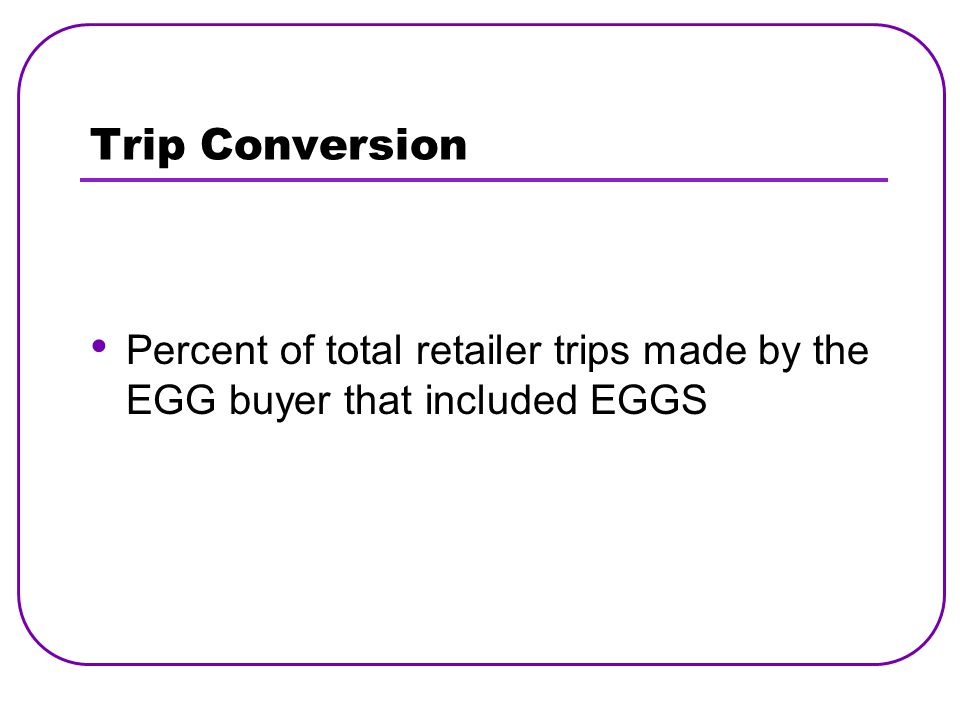 Trip Conversion Percent of total retailer trips made by the EGG buyer that included EGGS