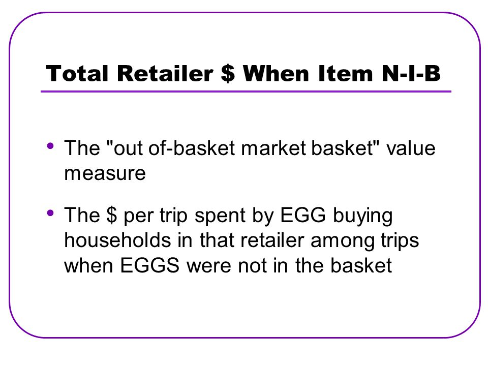 Total Retailer $ When Item N-I-B The out of-basket market basket value measure The $ per trip spent by EGG buying households in that retailer among trips when EGGS were not in the basket