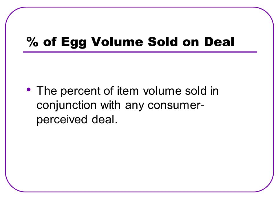 % of Egg Volume Sold on Deal The percent of item volume sold in conjunction with any consumer- perceived deal.