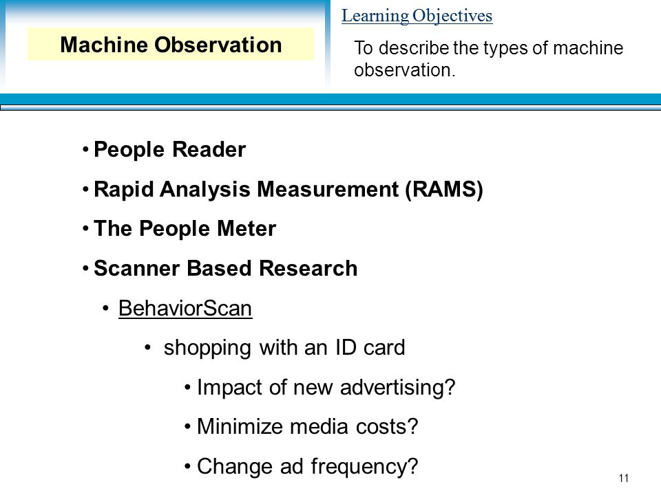 Learning Objectives 11 People Reader Rapid Analysis Measurement (RAMS) The People Meter Scanner Based Research BehaviorScan shopping with an ID card Impact of new advertising.
