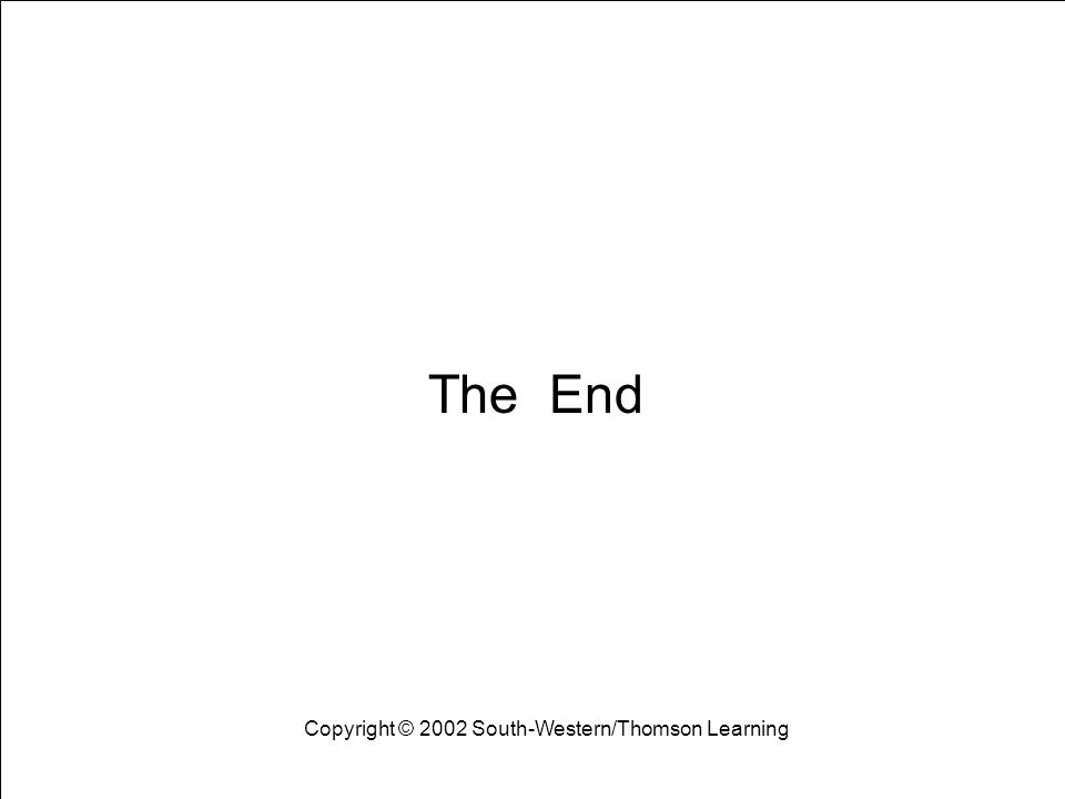 Learning Objectives 18 The End Copyright © 2002 South-Western/Thomson Learning