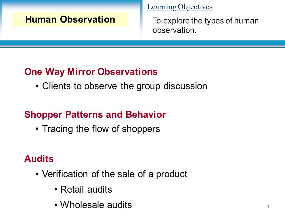 Learning Objectives 9 One Way Mirror Observations Clients to observe the group discussion Shopper Patterns and Behavior Tracing the flow of shoppers Audits Verification of the sale of a product Retail audits Wholesale audits To explore the types of human observation.