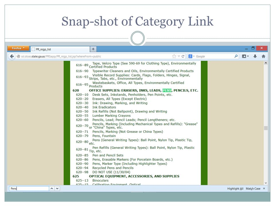 Snap-shot of Category Link