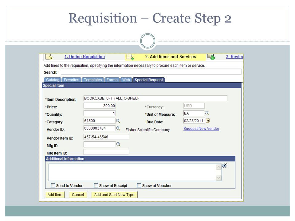 Requisition – Create Step 2