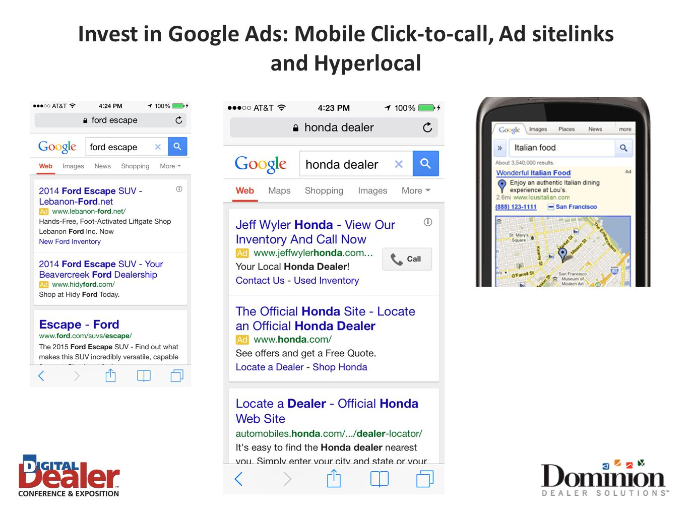 Invest in Google Ads: Mobile Click-to-call, Ad sitelinks and Hyperlocal