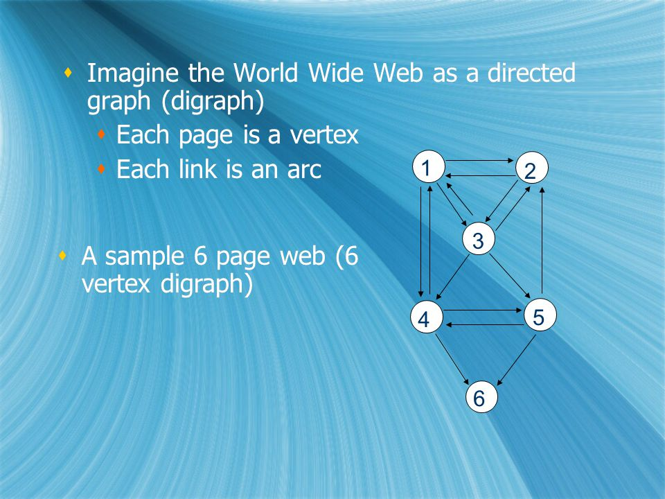 Imagine the World Wide Web as a directed graph (digraph)  Each page is a vertex  Each link is an arc  Imagine the World Wide Web as a directed graph (digraph)  Each page is a vertex  Each link is an arc 1 2 3 4 5 6  A sample 6 page web (6 vertex digraph)