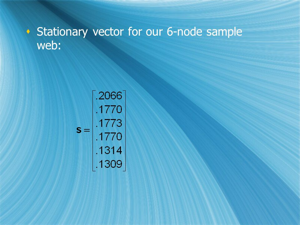  Stationary vector for our 6-node sample web: