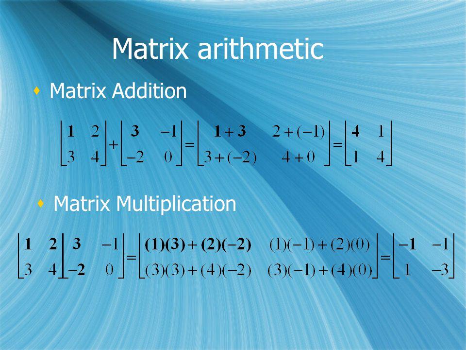 Matrix arithmetic  Matrix Addition  Matrix Multiplication