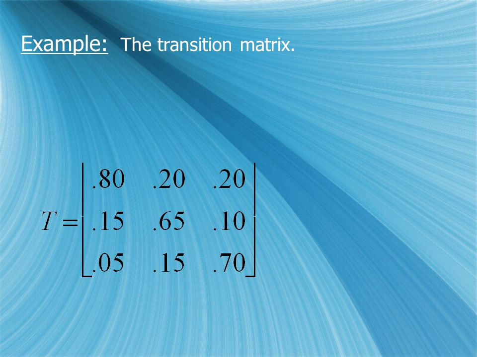 Example: The transition matrix.