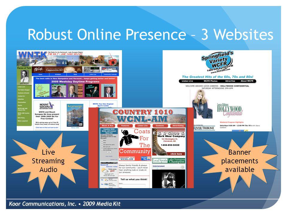 Robust Online Presence – 3 Websites Koor Communications, Inc.