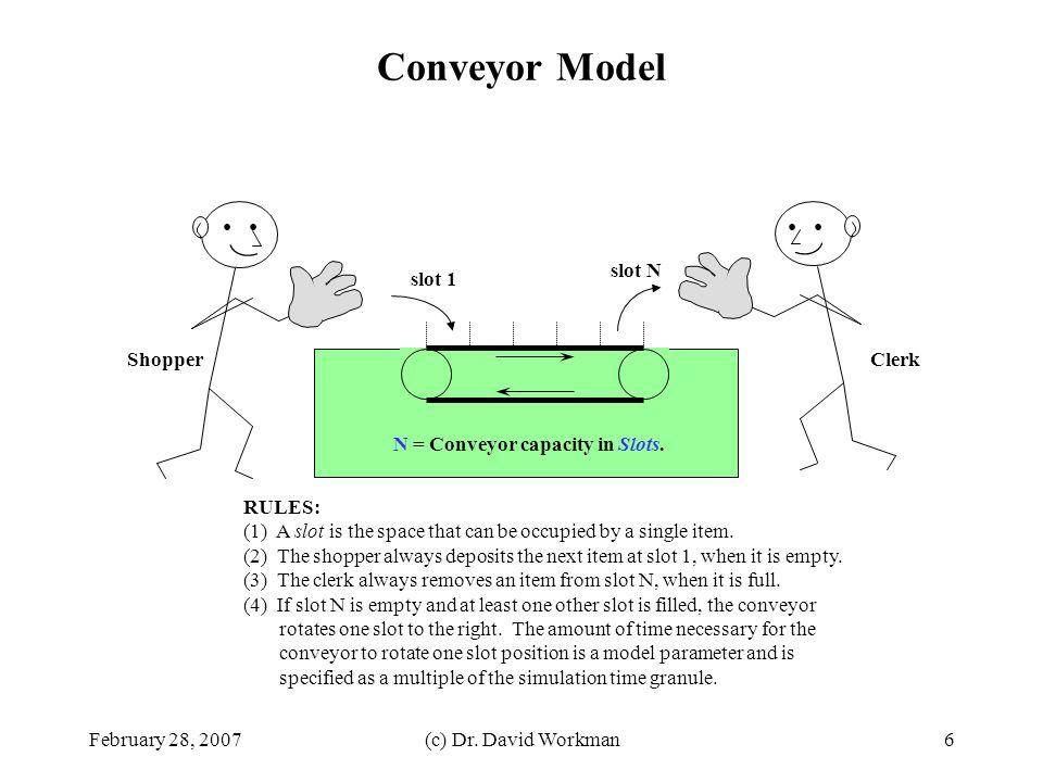 February 28, 2007(c) Dr. David Workman7 Discrete Event Simulator: Architecture Diagram