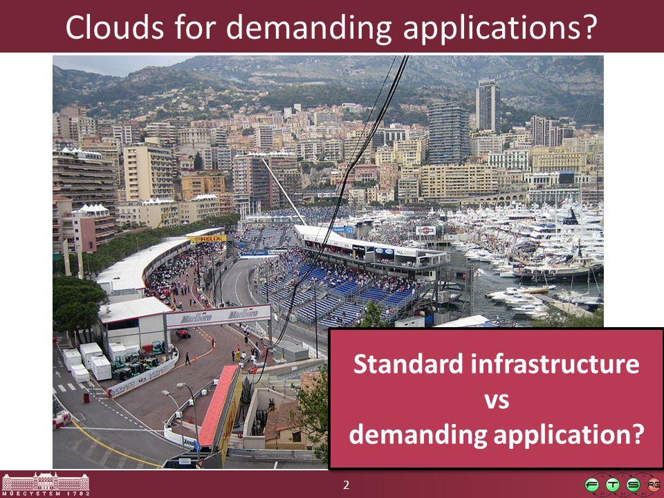 2 Clouds for demanding applications. Standard infrastructure vs demanding application.