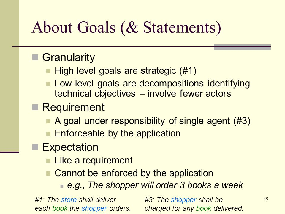 15 About Goals (& Statements) Granularity High level goals are strategic (#1) Low-level goals are decompositions identifying technical objectives – in