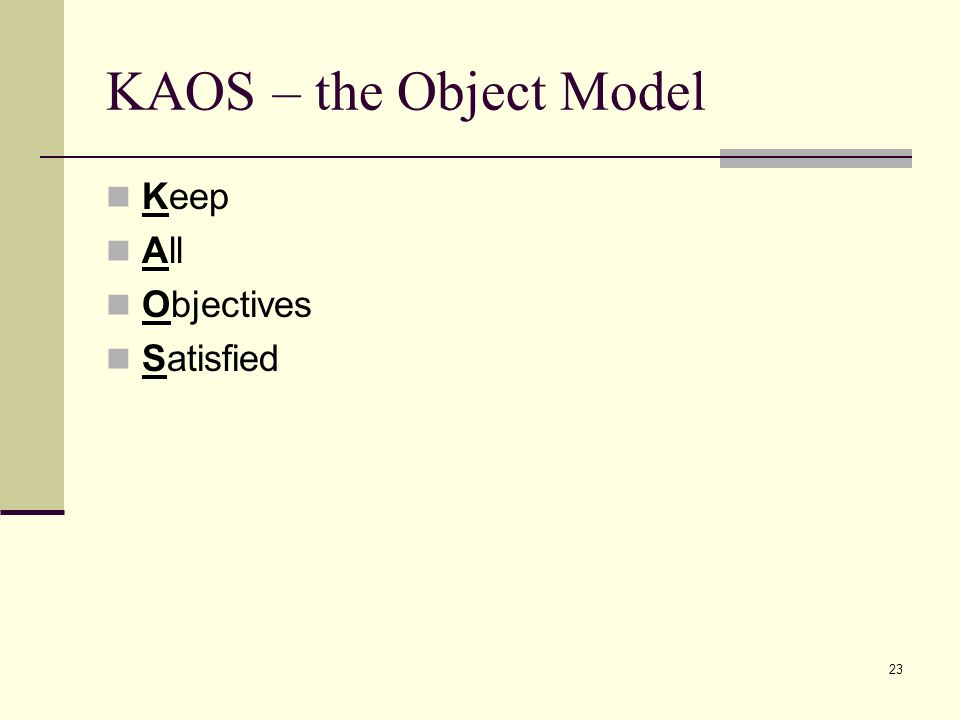 23 KAOS – the Object Model Keep All Objectives Satisfied