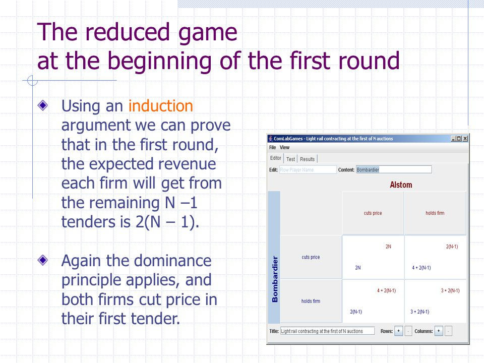 The reduced game at the beginning of the first round Using an induction argument we can prove that in the first round, the expected revenue each firm will get from the remaining N –1 tenders is 2(N – 1).