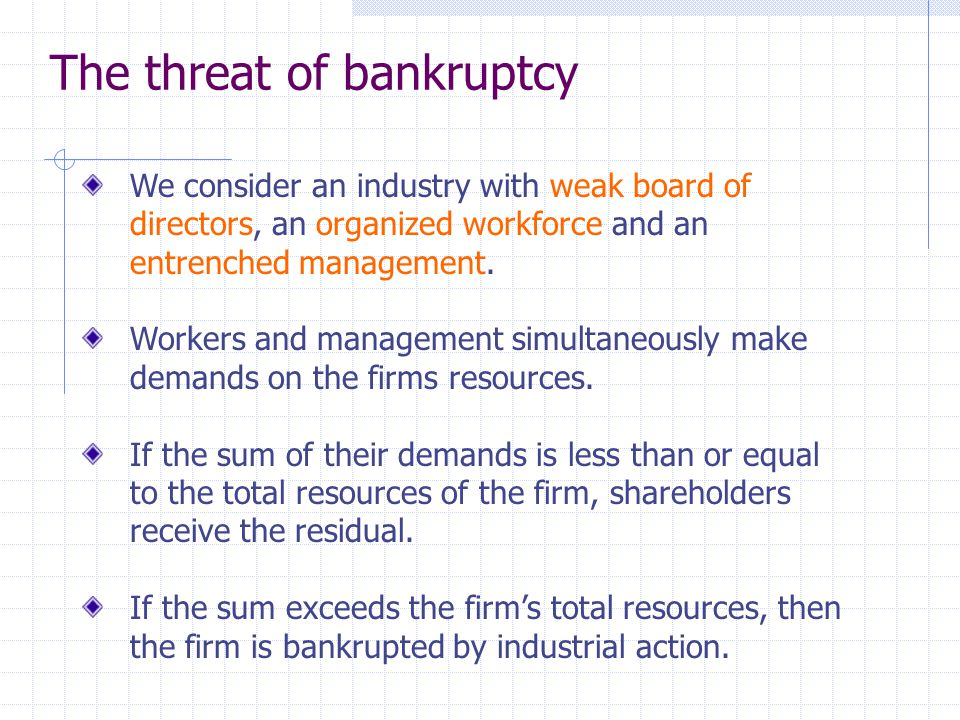 The threat of bankruptcy We consider an industry with weak board of directors, an organized workforce and an entrenched management.