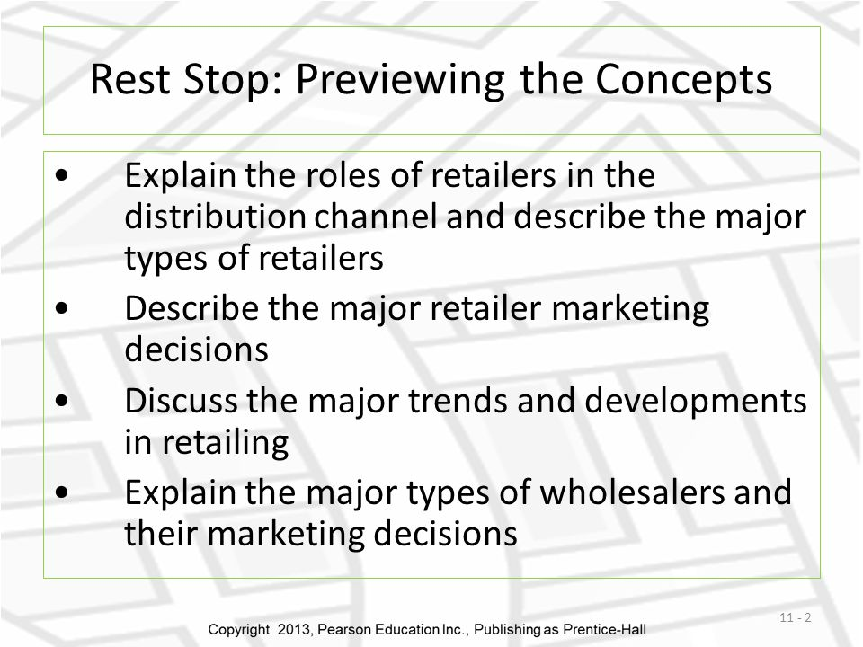 Rest Stop: Previewing the Concepts Explain the roles of retailers in the distribution channel and describe the major types of retailers Describe the m