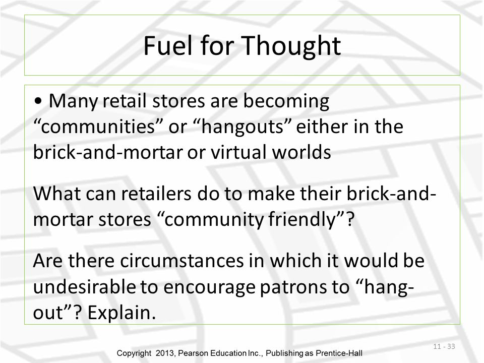 "Fuel for Thought Many retail stores are becoming ""communities"" or ""hangouts"" either in the brick-and-mortar or virtual worlds What can retailers do to"