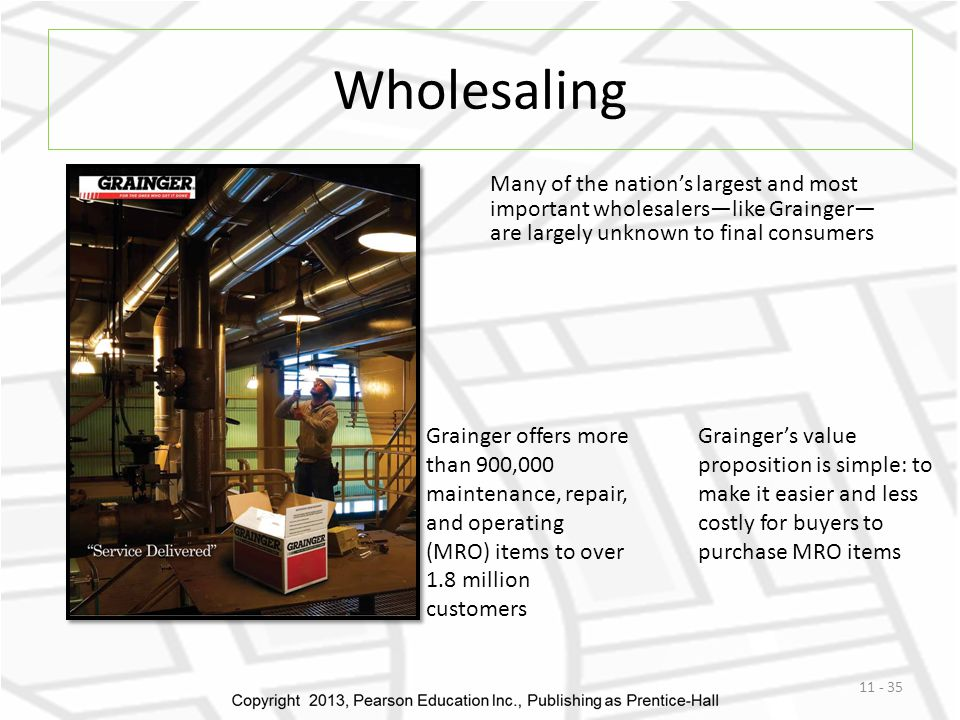 Wholesaling 11 - 35 Many of the nation's largest and most important wholesalers—like Grainger— are largely unknown to final consumers Grainger offers