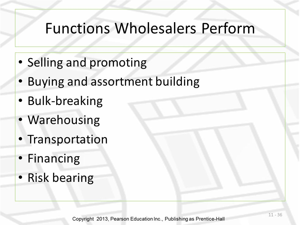 Functions Wholesalers Perform Selling and promoting Buying and assortment building Bulk-breaking Warehousing Transportation Financing Risk bearing 11