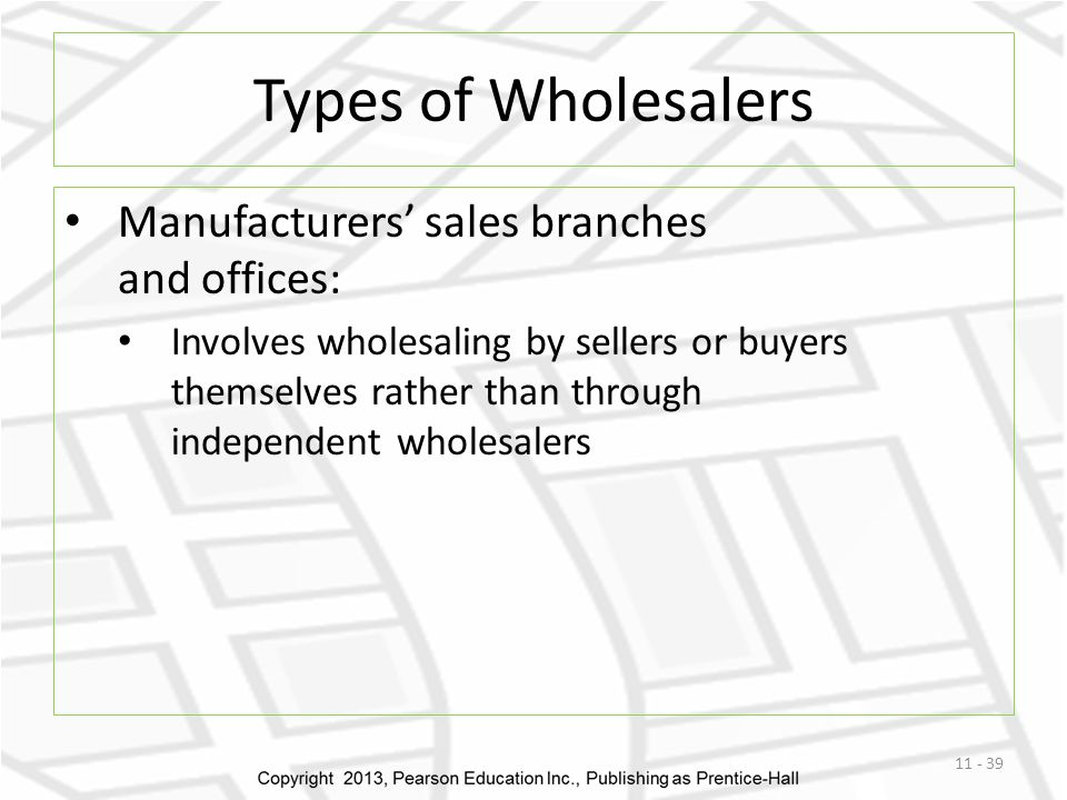 Types of Wholesalers Manufacturers' sales branches and offices: Involves wholesaling by sellers or buyers themselves rather than through independent w