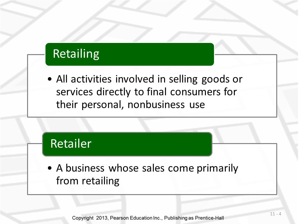 All activities involved in selling goods or services directly to final consumers for their personal, nonbusiness use Retailing A business whose sales