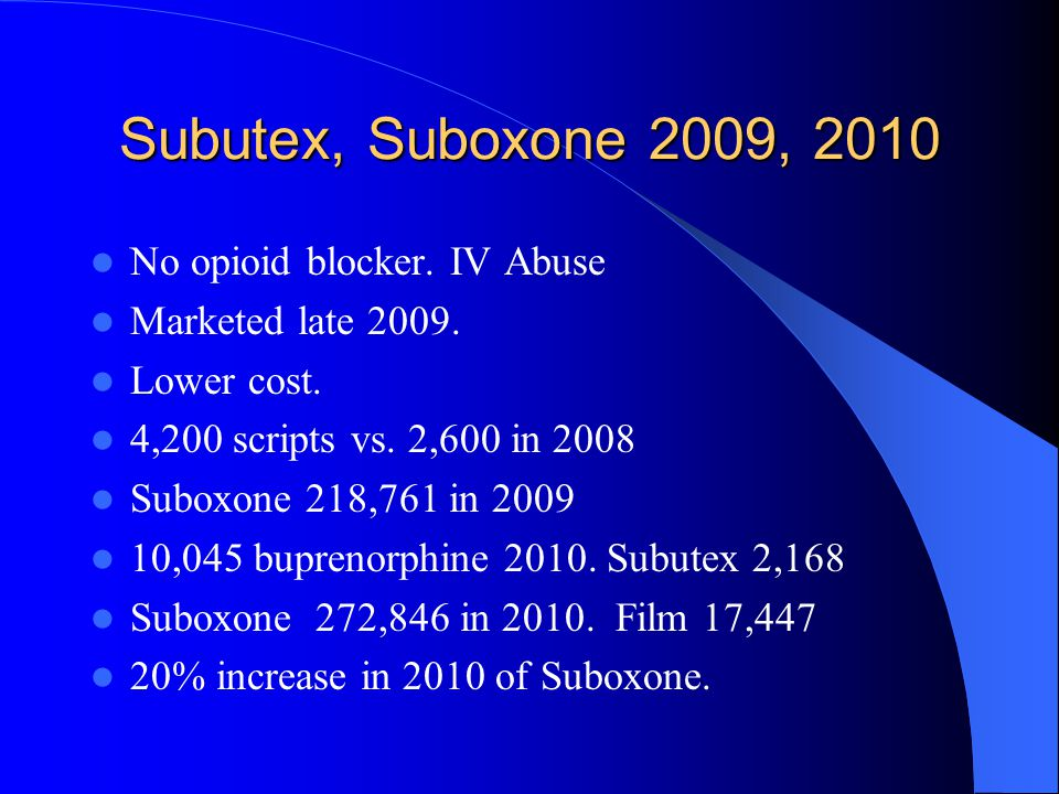 Subutex, Suboxone 2009, 2010 No opioid blocker. IV Abuse Marketed late 2009. Lower cost. 4,200 scripts vs. 2,600 in 2008 Suboxone 218,761 in 2009 10,0