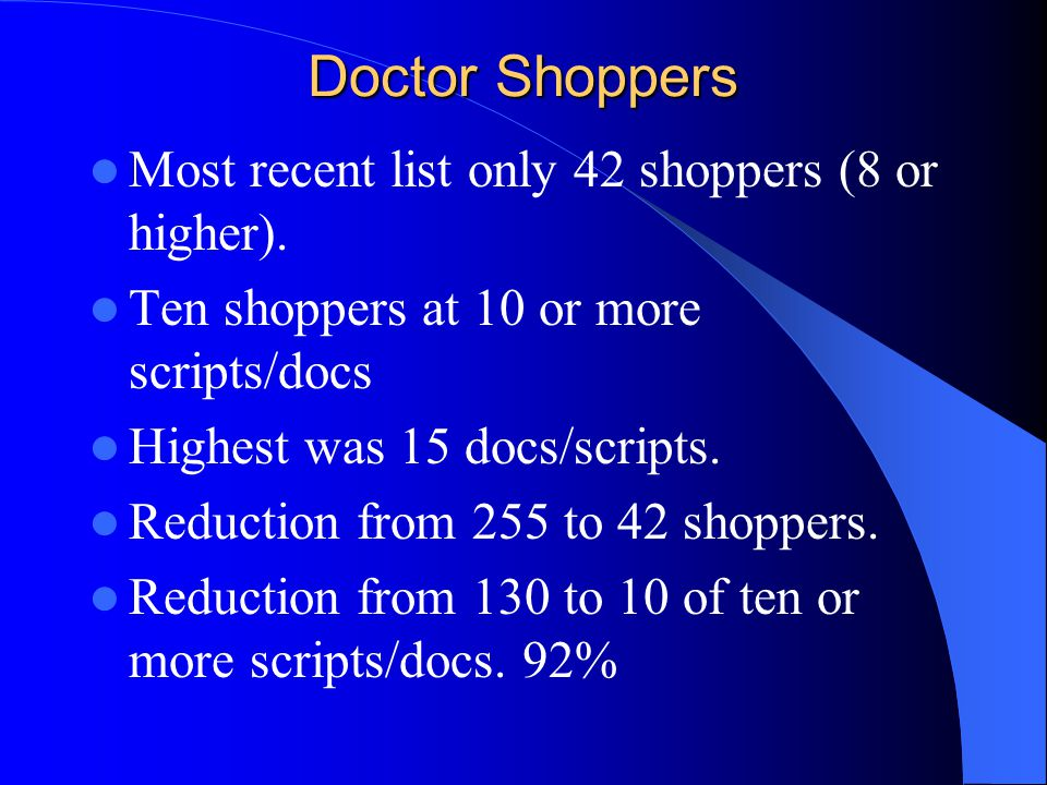 Doctor Shoppers Most recent list only 42 shoppers (8 or higher). Ten shoppers at 10 or more scripts/docs Highest was 15 docs/scripts. Reduction from 2