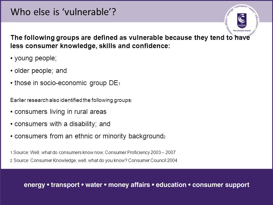 Who else is 'vulnerable'.