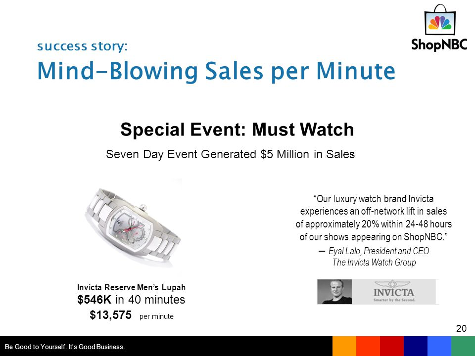 success story: Mind-Blowing Sales per Minute Invicta Reserve Men's Lupah $546K in 40 minutes $13,575 per minute Special Event: Must Watch Be Good to Yourself.