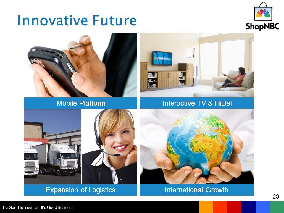 Innovative Future Mobile Platform Interactive TV & HiDef Expansion of Logistics International Growth Be Good to Yourself.