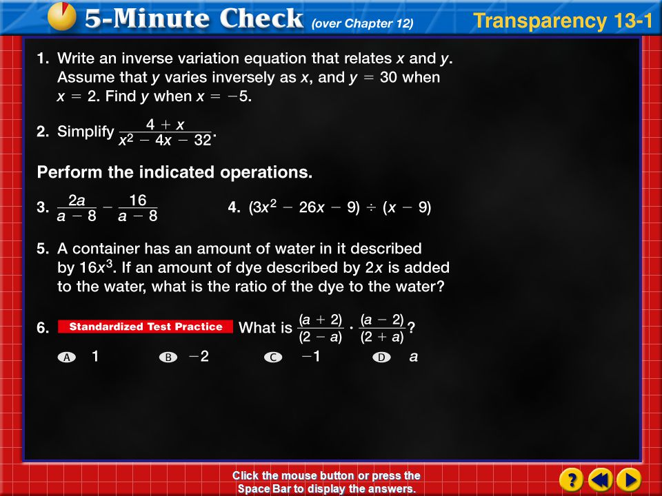 Transparency 1 Click the mouse button or press the Space Bar to display the answers.