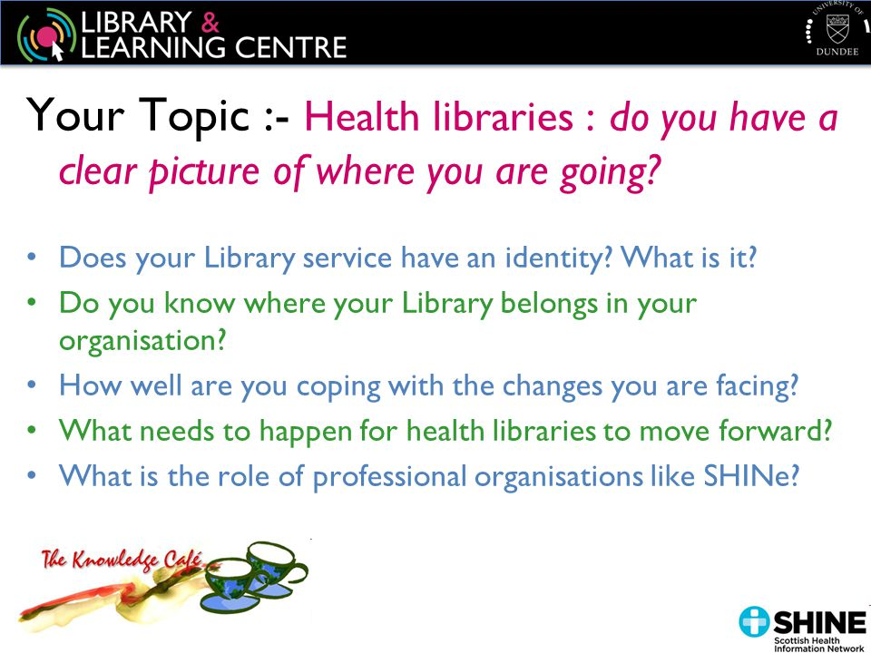 Your Topic :- Health libraries : do you have a clear picture of where you are going.
