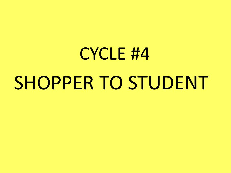 CYCLE #4 SHOPPER TO STUDENT
