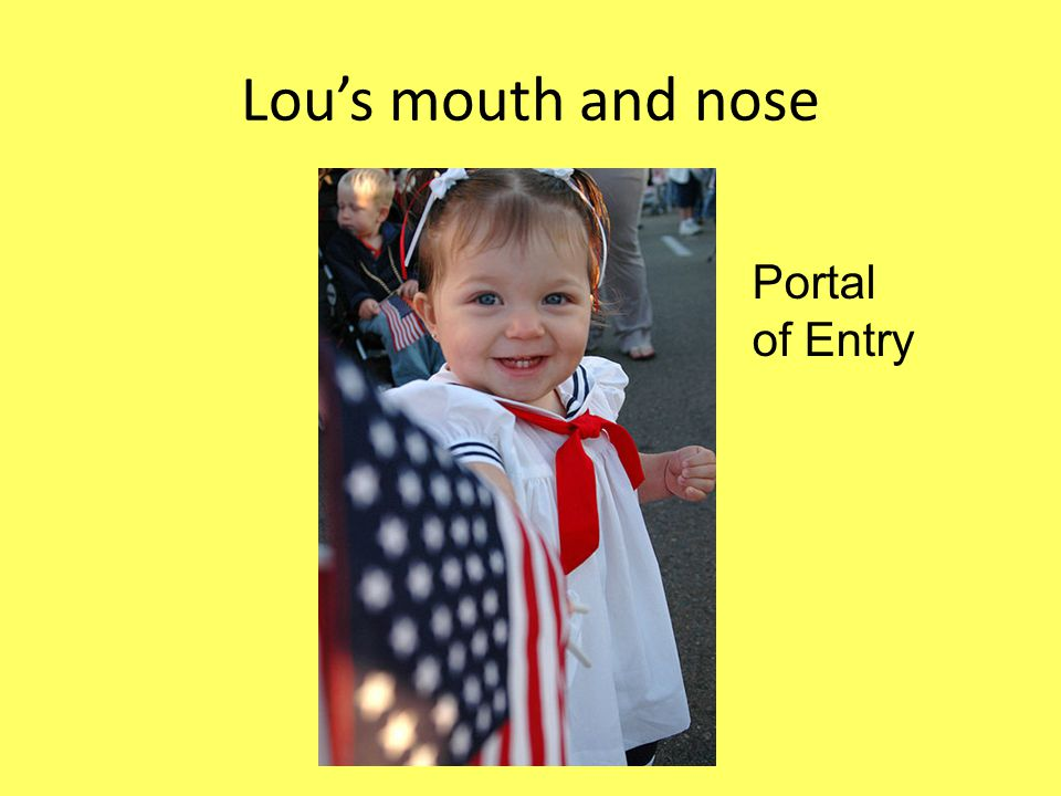 Lou's mouth and nose Portal of Entry