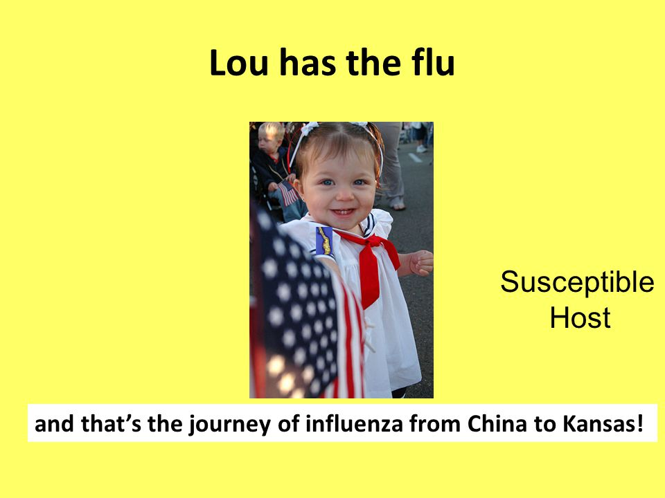 Lou has the flu and that's the journey of influenza from China to Kansas! Susceptible Host