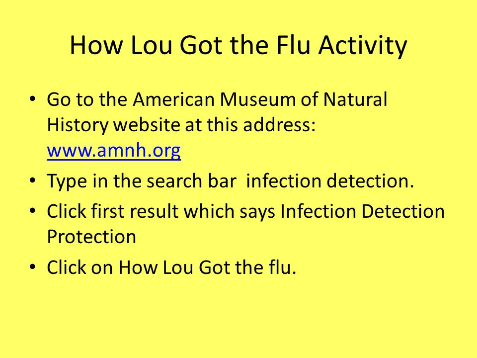 How Lou Got the Flu Activity Go to the American Museum of Natural History website at this address: www.amnh.org www.amnh.org Type in the search bar infection detection.