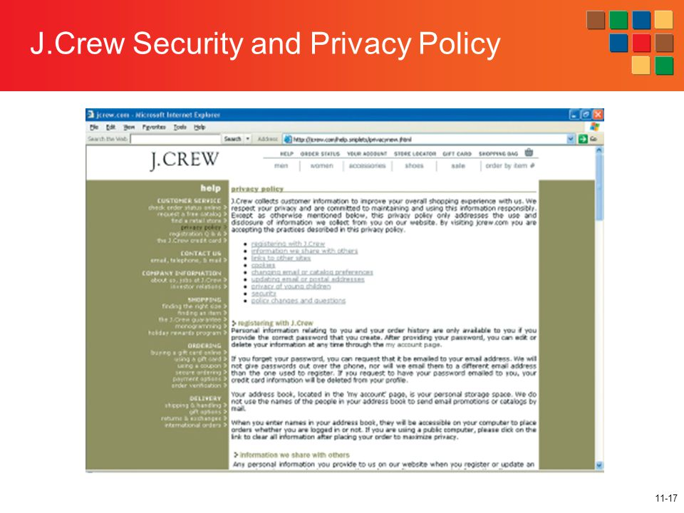 11-17 J.Crew Security and Privacy Policy