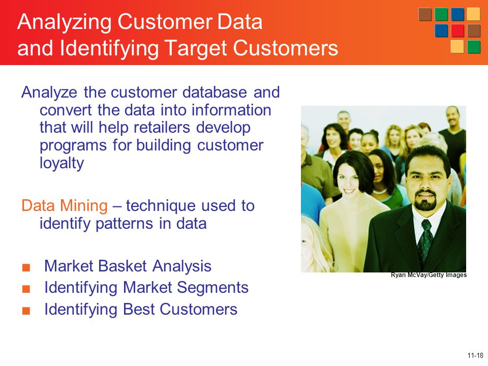 11-18 Analyzing Customer Data and Identifying Target Customers Ryan McVay/Getty Images Analyze the customer database and convert the data into informa