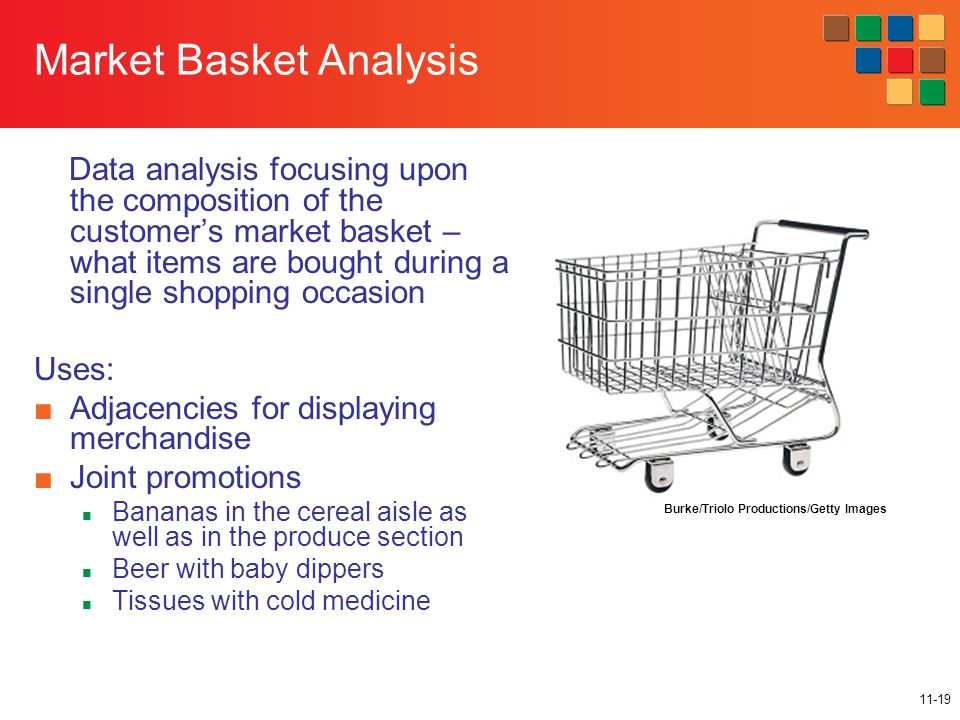 11-19 Market Basket Analysis Data analysis focusing upon the composition of the customer's market basket – what items are bought during a single shopp