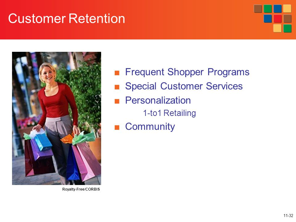 11-32 Customer Retention ■Frequent Shopper Programs ■Special Customer Services ■Personalization 1-to1 Retailing ■Community Royalty-Free/CORBIS
