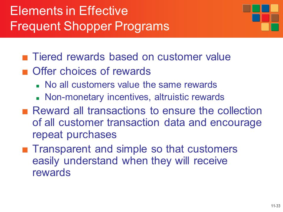 11-33 Elements in Effective Frequent Shopper Programs ■Tiered rewards based on customer value ■Offer choices of rewards No all customers value the same rewards Non-monetary incentives, altruistic rewards ■Reward all transactions to ensure the collection of all customer transaction data and encourage repeat purchases ■Transparent and simple so that customers easily understand when they will receive rewards